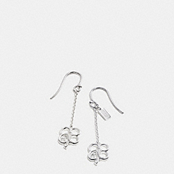 COACH F99675 - STERLING SIGNATURE C CLOVER EARRINGS  SILVER/CLEAR