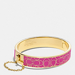 COACH F99679 - SIGNATURE C METAL ENAMEL CHAIN HINGED BANGLE GOLD/FUCHSIA