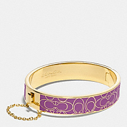 COACH F99679 - SIGNATURE C METAL ENAMEL CHAIN HINGED BANGLE GOLD/PURPLE