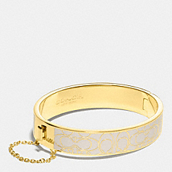 COACH F99679 - SIGNATURE C METAL ENAMEL CHAIN HINGED BANGLE GOLD/WHITE