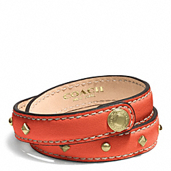 STUDDED LEATHER WRAP BRACELET - f99687 - GOLD/HOT ORANGE