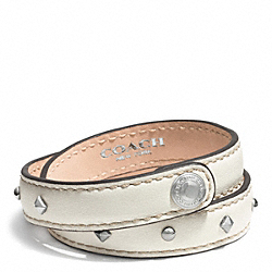 COACH STUDDED LEATHER WRAP BRACELET - ONE COLOR - F99687