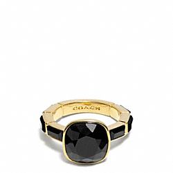 COACH F99723 - CUSHION CUT STONE RING GOLD/BLACK