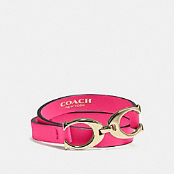 COACH F99792 Twin Signature C Double Wrap Leather Bracelet BRASS/PINK RUBY