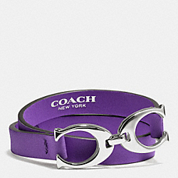 COACH F99792 Twin Signature C Double Wrap Leather Bracelet PURPLE IRIS