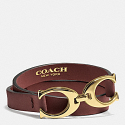 COACH F99792 - TWIN SIGNATURE C DOUBLE WRAP LEATHER BRACELET GOLD/BRICK