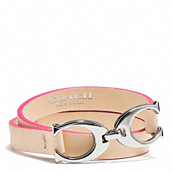 COACH F99792 Twin Signature C Double Wrap Leather Bracelet  SILVER/VACHETTA/PINK