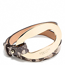 COACH F99840 - OPEN LOCK PYTHON LEATHER DOUBLE WRAP BRACELET GOLD/SNAKE