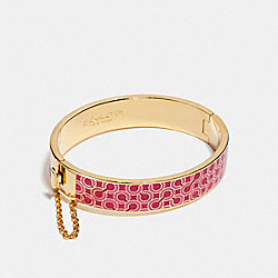 COACH F99857 Half Inch Op Art Chain Hinged Bangle GOLD/PINK