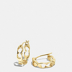 COACH F99889 Signature C Link Huggie Earrings GOLD