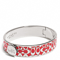 COACH F99933 Hinged Signature Bangle SILVER/PERSIMMON