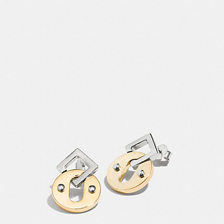 COACH OVAL AND SQUARE POST EARRINGS -  MULTICOLOR - f99954