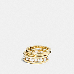 COACH F99956 - COACH PEARL RING SET GOLD/WHITE