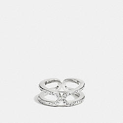 PAVE ID RING - f99959 - SILVER/CLEAR