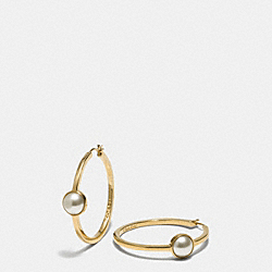 COACH F99961 Pearl Hoop Earrings  GOLD/WHITE