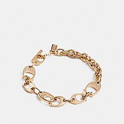 COACH F99963 Pave Signature C Chain Link Bracelet GOLD
