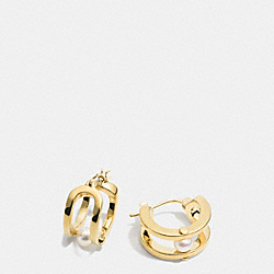 COACH F99966 - PEARL ID HUGGIE EARRINGS  GOLD/WHITE