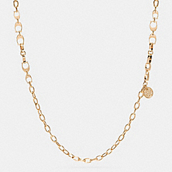 COACH F99967 Pave Signature C Long Link Station Necklace GOLD