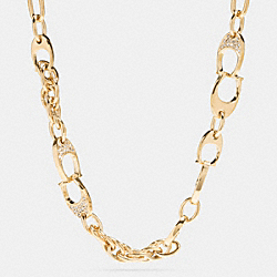 COACH F99978 Pave Signature C Short Link Necklace GOLD