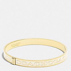 COACH F99983 Thin Coach Letter Logo Bangle LIGHT GOLD/MILK