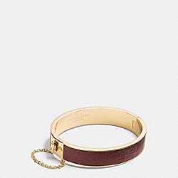 COACH F99990 - LEATHER INLAY LOGO CHAIN HINGED BANGLE BRASS/BRICK