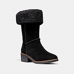 COACH FG1011 Turnlock Shearling Boot BLACK