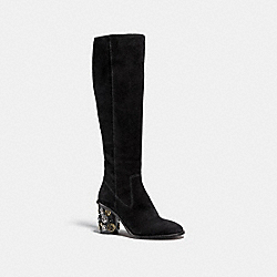 COACH FG1028 Tea Rose Heel Boot BLACK