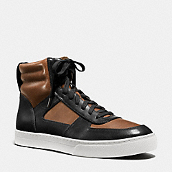 COACH DAVE HI TOP SNEAKER - BLACK/SADDLE - FG1083
