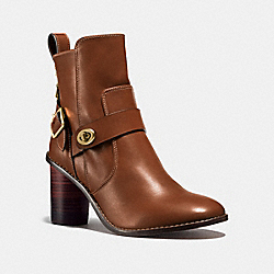 COACH FG1191 Moto Bootie Heel DARK SADDLE