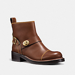 COACH FG1192 Moto Bootie DARK SADDLE