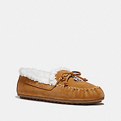 COACH FG1439 Shearling Moccasin CAMEL