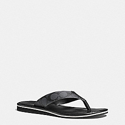 COACH FG1725 Rockaway Signature Flip Flop BLACK/CHARCOAL