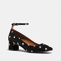 COACH FG1803 Ankle Strap Pump With Prairie Print BLACK