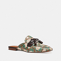 COACH FG1846 Tassel Loafer Slide In Camo Rose Print KHAKI/PINK