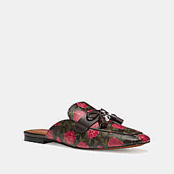 COACH FG1846 Tassel Loafer Slide In Camo Rose Print MAHOGANY/RED