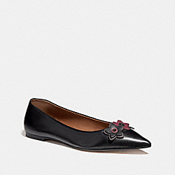 COACH FG1862 Flat With Floral Applique BLACK