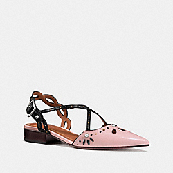 COACH FG1982 Flat With Prairie Rivets PINK/BLACK