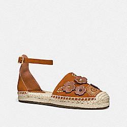 ANKLE STRAP ASTOR ESPADRILLE WITH TEA ROSE RIVETS - FG2054 - SADDLE