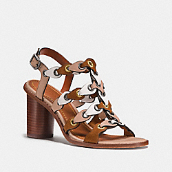 COACH FG2075 Mid Heel Sandal With Coach Link SADDLE/CHALK/BEECHWOOD