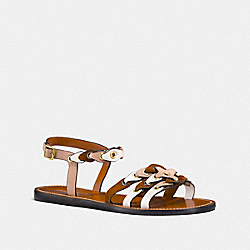 SANDAL WITH COACH LINK - FG2087 - BEECHWOOD/SADDLE/CHALK