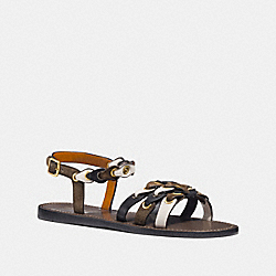 SANDAL WITH COACH LINK - FG2087 - FATIGUE/CHALK/BLACK