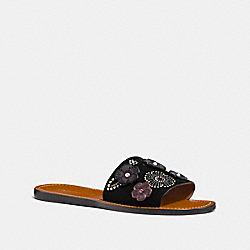 COACH FG2091 Slide With Tea Rose Rivets BLACK