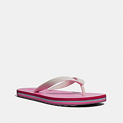 COACH FG2095 Roller Bottom Flip Flop CHALK/NEON PINK