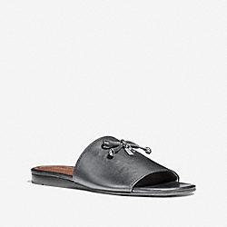 COACH FG2102 Tassel Slide Sandal SILVER BLACK