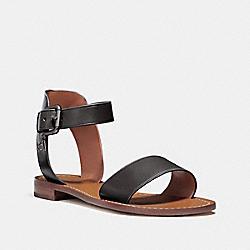 COACH FG2103 Ankle Strap Flat Sandal BLACK