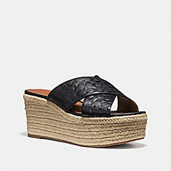 COACH FG2107 Slide Espadrille Wedge BLACK