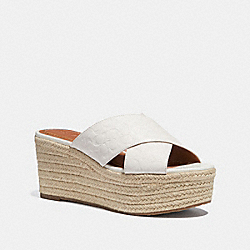COACH FG2107 Slide Espadrille Wedge CHALK