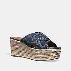 COACH FG2108 Slide Espadrille Wedge DENIM