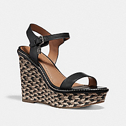 HIGH ESPADRILLE WEDGE SANDAL - fg2110 - BLACK