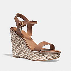 COACH FG2110 High Espadrille Wedge Sandal SADDLE